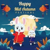 Mid Autumn Festival with a Couple Bunnies vector