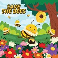 proteger a las abejas melíferas con colmenas de abejas y flores vector