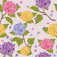 Floral Hydrangea Seamless Pattern vector