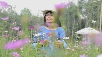 Portrait woman enjoy with beautiful cosmos flowers in the field. video