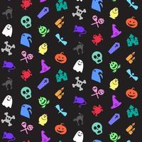 Halloween icons seamless pattern vector