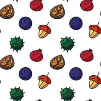 Vintage nuts, berry, fruits seamless pattern vector