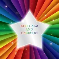 banne de vacaciones de celebración de arco iris vectorial brillante, mantenga la calma vector
