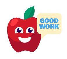 Buen trabajo hablando vector de pegatina de recompensa de manzana
