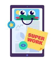 super trabajo alabando vector de alumno de tableta digital