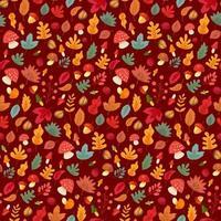 Autumn leaves and mushroom seamless pattern vector