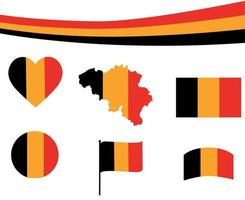 Belgium Flag Map Ribbon And Heart Icons Vector Illustration Abstract
