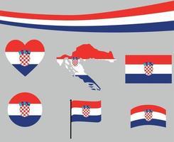 Croatia Flag Map Ribbon And Heart Icons Vector Abstract Design