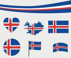 Iceland Flag Map Ribbon And Heart Icons Vector Illustration Abstract