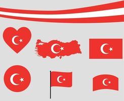 Turquía bandera mapa cinta corazón icono ilustración vectorial diseño abstracto vector