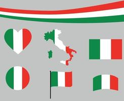 Italy Flag Map Ribbon And Heart Icons Vector Illustration Design