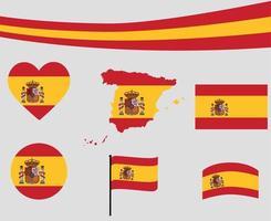 España bandera mapa cinta y corazón iconos vector diseño abstracto