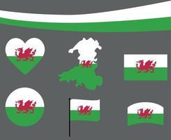 Wales Flag Map Ribbon And Heart Icons Vector Illustration Abstract