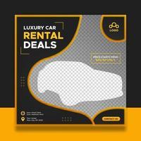 Modern car rental square banner for social media post vector