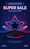 Red and blue sale discount poster template with stand spotlight vector