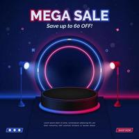 Red and blue sale discount square banner template with stand spotlight vector