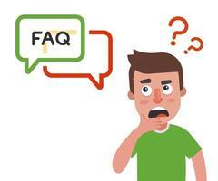 una persona hace una pregunta y espera una respuesta en el sitio. vector