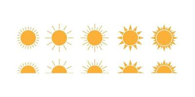 Set of sun images on a white background. Solar icons. Solar symbols vector