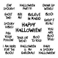 Set of halloween quotes. Cute hand drawn lettering vector
