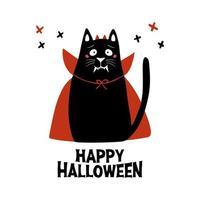 gato usa disfraz de vampiro con colmillos, cuernos y capa roja vector