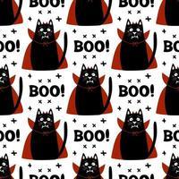 Disfraz de vampiro de gato de patrones sin fisuras con colmillos, cuernos, capa roja vector