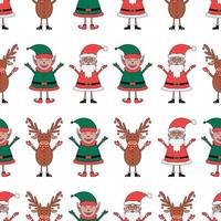 Christmas seamless pattern made from Santa Claus, Elf and Deer vector