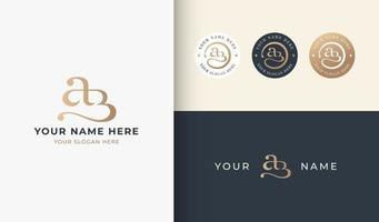 ab monogram serif letter logo design vector
