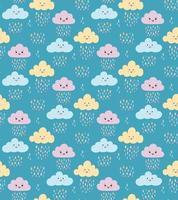 Cute childish seamless pattern with kawaii clouds, rain drops on blue vector