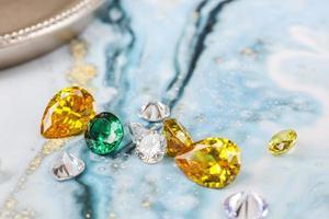 Natural Sapphire gemstone, Jewel or gems on black shine color photo