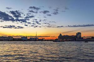 Urban landscape. Sunset on the river embankment photo
