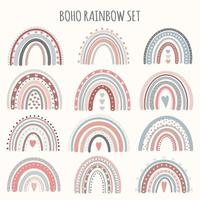 Cute vector pastel rainbow set boho rainbow