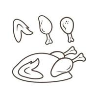 fried chicken icon logo illustration vector