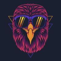 Eagle head eyeglasses vector illustration