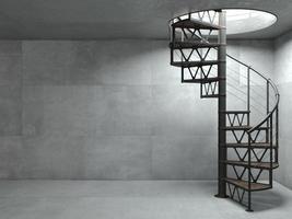 Escalera en espiral de metal negro en estilo loft foto
