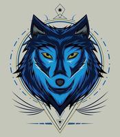 wolf face vector design. Wolf mascot vector art