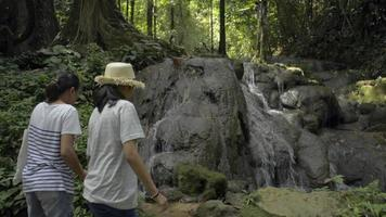 mère et sa fille adolescente aiment voir une cascade dans la forêt tropicale. video