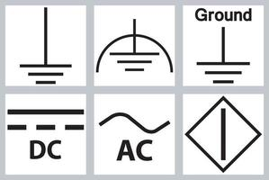 Protective Earth Ground,DC,AC circuit power Symbol Sign vector