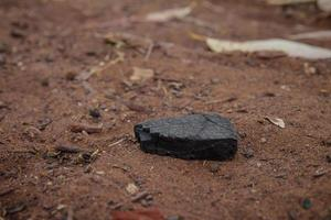 Piece of burnt wood coal on the ground photo