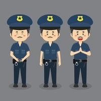 Policeman Character with Various Expression vector