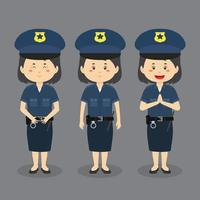 Police Woman Character with Various Expression vector