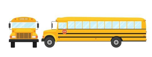 Vector illustration of school bus side and frontal view isolated