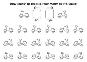 Left or right with black and white scooter. Logical worksheet vector
