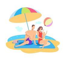 vacaciones familiares en la playa de verano en el mar. vacaciones en el mar vector