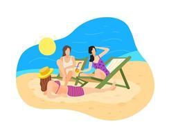 tres niñas descansan y toman el sol en la playa junto al mar vector