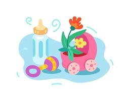 Birth of a child, extract. Stroller, bottle and rattle vector