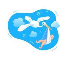 A stork flies with a newborn baby. vector