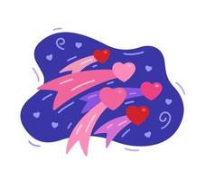 Flying hearts on a background of the night sky. Valentine's Day vector