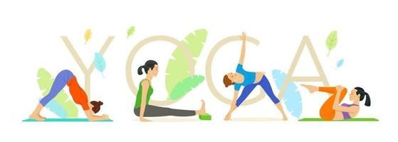 Slim athletic young woman doing yoga and fitness vector