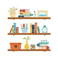 Bookshelf in library room, office shelf, wall, interior, bookshelf vector