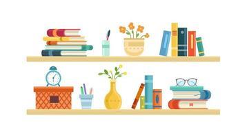 Long light bookshelf vector